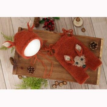 Fluffy mohair Reindeer Bonnet Romper set Christmas Santa Claus Outfit Newborn Deer Overall hat photography props фото