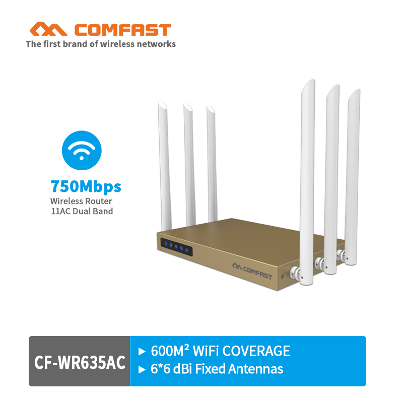COMFAST 750Mbps Dual Band 802.11ac wireless wifi router repeator with 6*6dBi WI-FI antenna high power wi fi router for office
