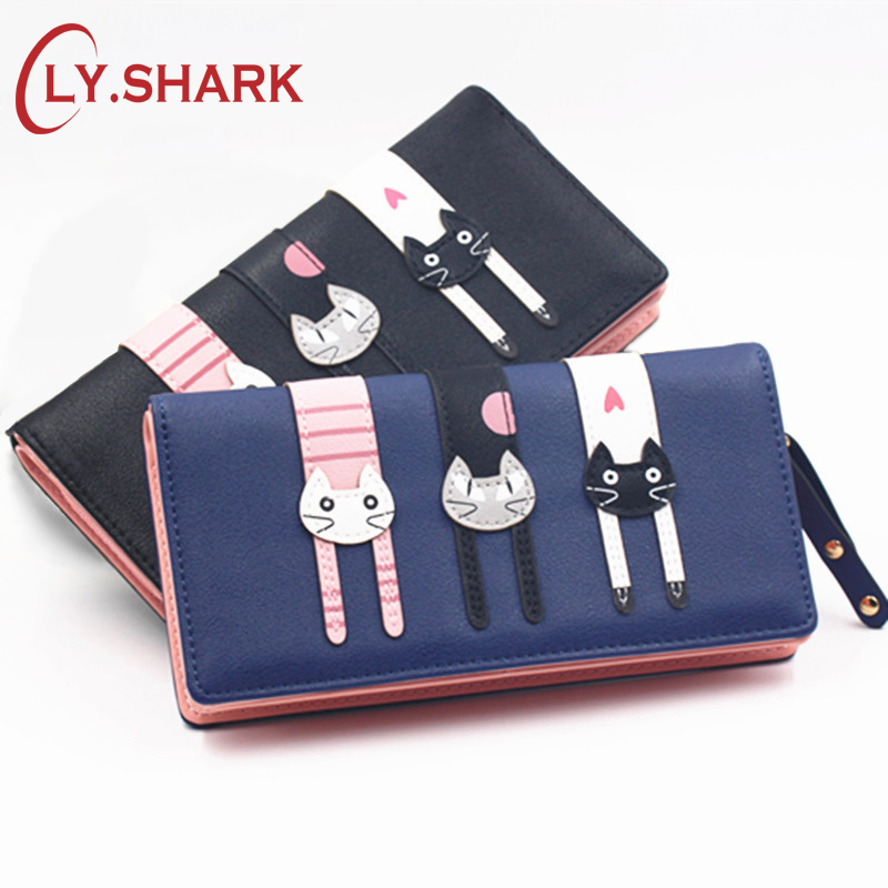 LY.SHARK Anime Wallet Women Black Wallets Purses Cute Cat Zipper Coin Purse Short Credit Card Holder Long Child Pussy Clutch anime my neighbour totoro cute card bag wallet holder zipper kawaii gray hanging