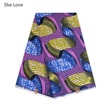 She Love African Wax Fabric 100% Polyester Floral Print Fabric For Women Dress Clothes Diy Sewing Materials(China)