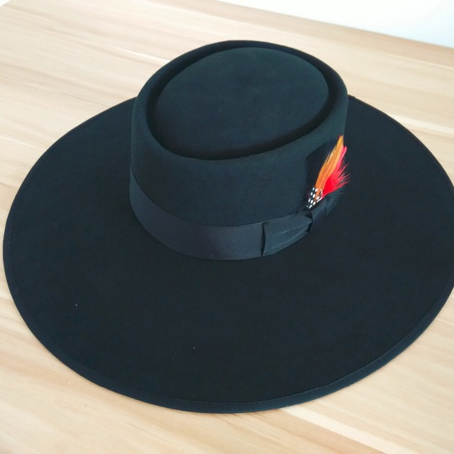 12cm Stiff Wide Brim Wool Felt Fedora Hats Flat Top Black Pure Australian  Wool Boater Fedoras Pork Pie Hat 566f9909987