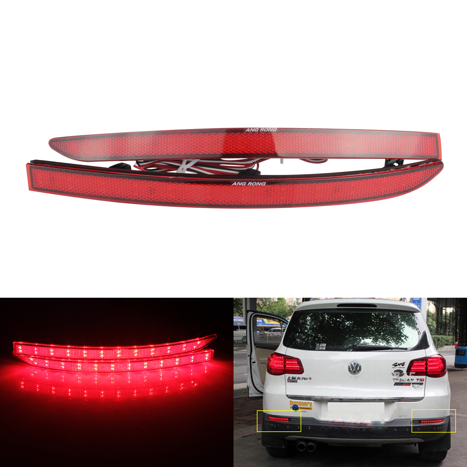 2x Red Lens Rear Bumper Reflector LED Tail Stop Brake Light For 08-15 VW Tiguan