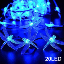 20/30 Led String Lights Outdoor Dragonfly Shaped Merry Christmas Garland Street Solar Light Holiday Decor