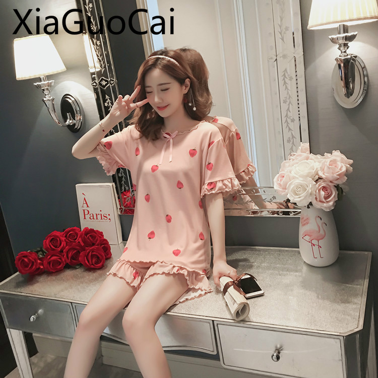 Pajamas Female Summer Strawberry Suit Short-sleeved Ladies Cute Pajamas Two-piece Summer Korean Home Service Pajama Shorts