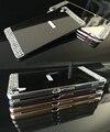 Luxo diy diamante embutidos de cristal para sony xperia z1 z2 z3 z3 mini z3 plus/z4 m5 dual acrílico espelho de metal de alumínio caso cobrir