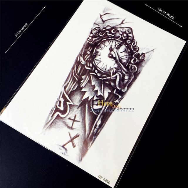 7dd07c245 1PC 3D Old Clock Body Art Arm Sleeve Flash Fake Tattoo Sticker For Men Arm  Sleeve
