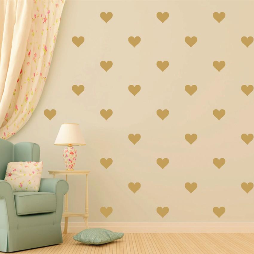 48 stücke Gold Herz Muster Vinyl Aufkleber, abnehmbare Kindergarten - Wohnkultur - Foto 1