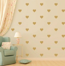 48pcs Gold Heart Pattern Vinyl Decal,removable Nursery Love Hearts Wall Stickers Home Decor