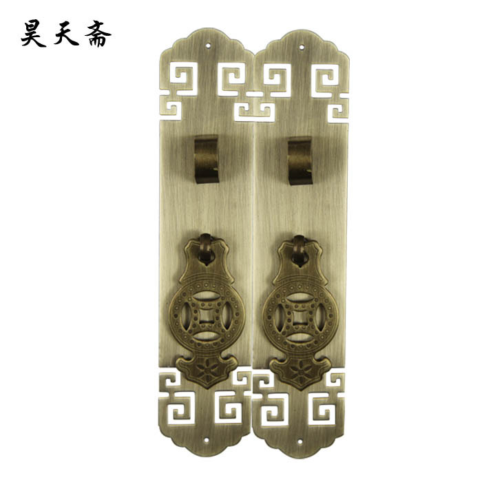 [Haotian vegetarian] Chinese Ming and Qing antique copper door handle HTC-318 antique fret interlocking grip nose [haotian vegetarian] chinese antique ming and qing furniture handle copper door handle copper with htc 163 classical handle