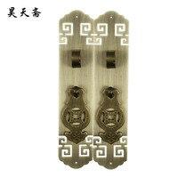 [Haotian vejetaryen] Çin Ming ve Qing antika bakır kapı kolu HTC-318 antika fret birbirine kavrama burun