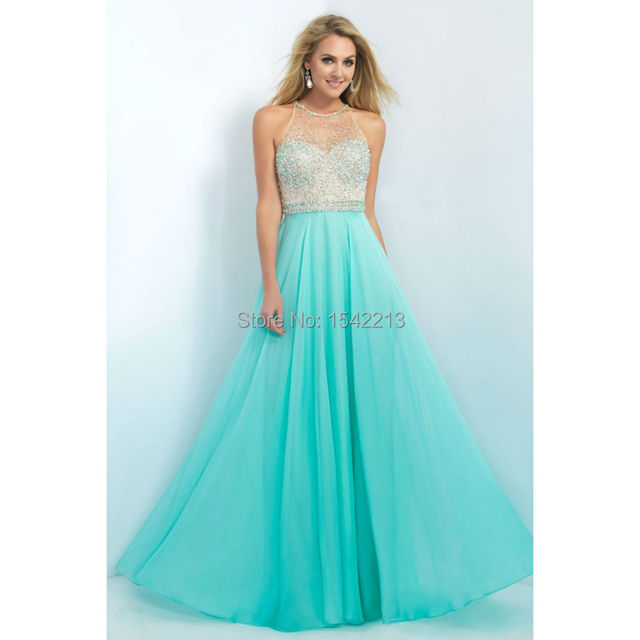 New Arrival Beaded Sheer Neckline Aqua Blue Coral Chiffon Prom ...