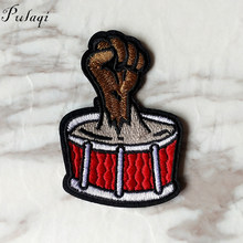 Pulaqi Metal Band Cloth Patches Rock Music DIY Badges Embroidered Motif Applique Stickers Iron on for Jacket Jeans Decoration F(China)