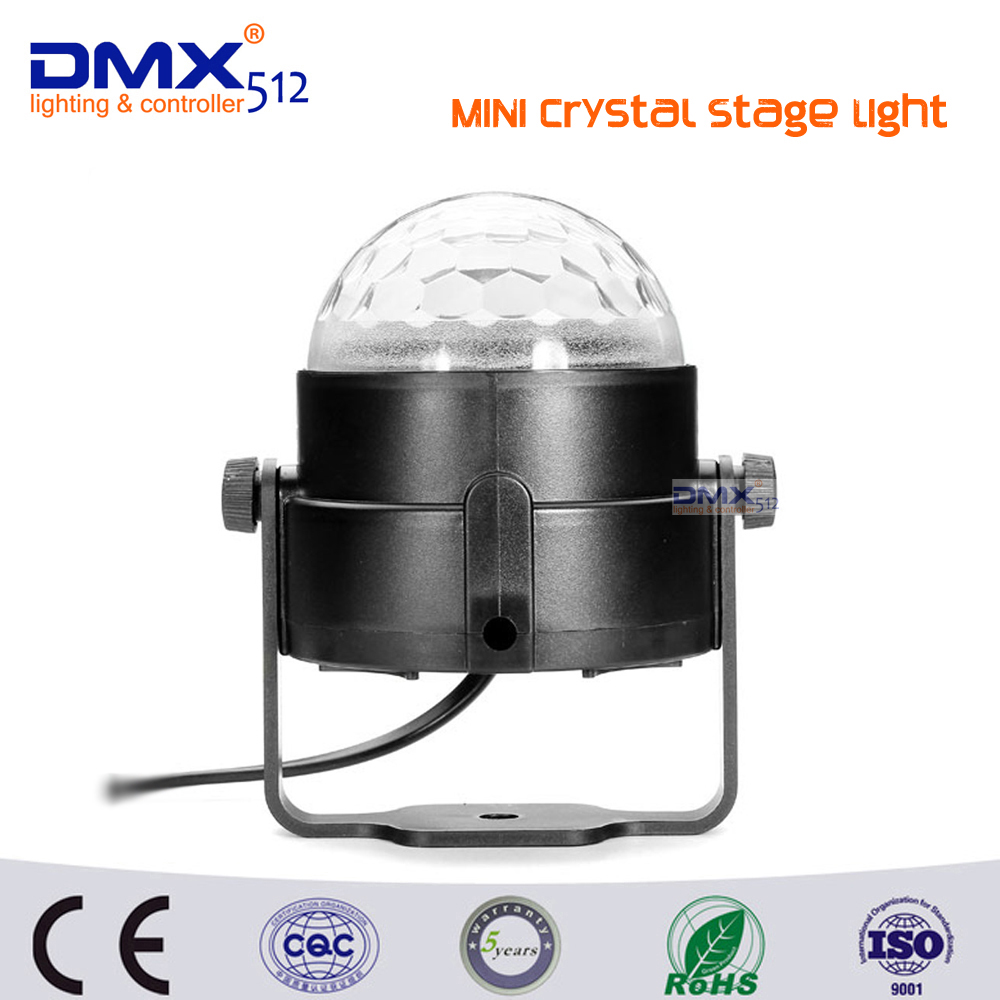 New Year gift Sound Activated 3W Crystal Magic Rotating Ball Effect RGB LED Stage Light for KTV Party Wedding Show Club Disco DJ