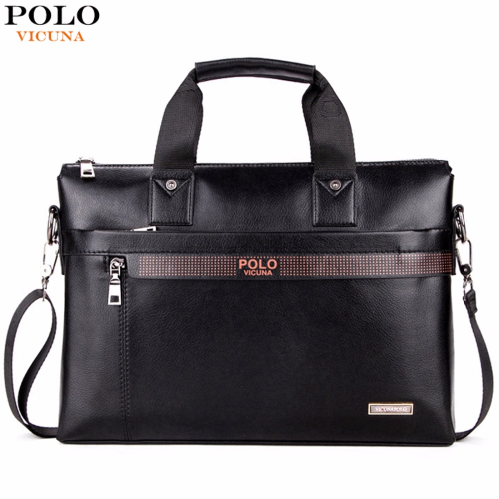 VICUNA POLO Top Sell Fashion Simple Dot Famous Brand Business Men Briefcase Bag Leather <font><b>Laptop</b></font> Bag Casual Man Bag Shoulder bags