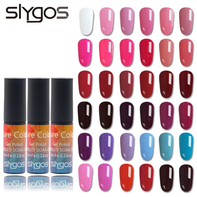 SLYGOS 6 ML Soak Off UV Gel Polonês Da Arte Do Prego de Longa Duração Portátil Pure Color Géis Verniz Manicure Pedicure Unhas ferramenta