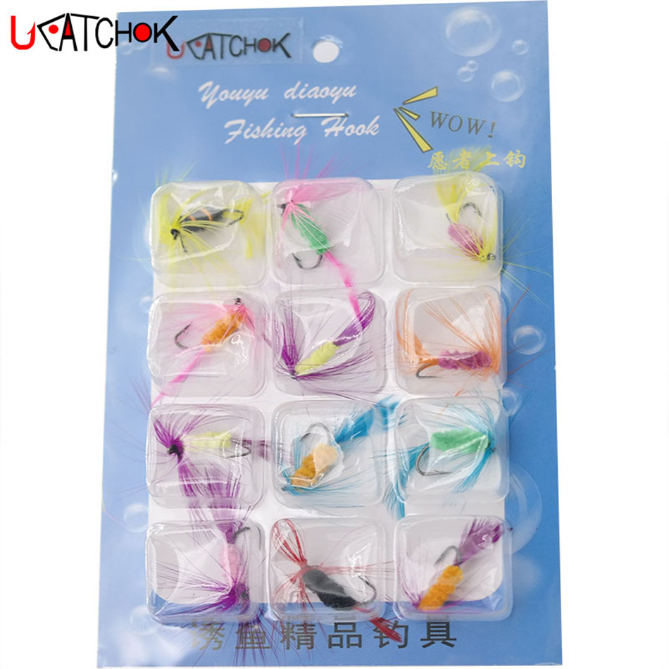 12Pcs//Set Various Dry Fly Hooks Fishing Trout Flies Hook Lures Tackle Tool Kit