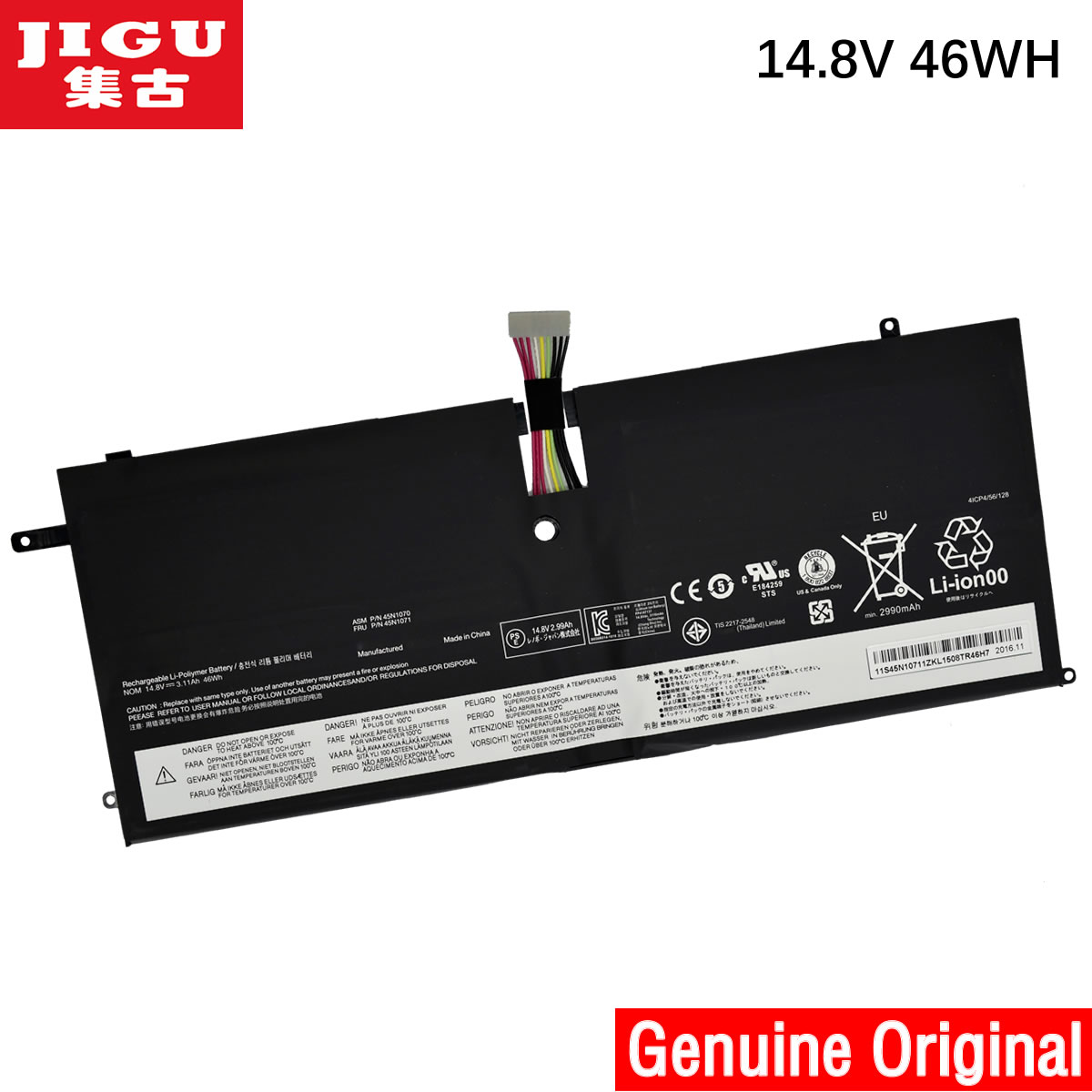 JIGU 45N1070 45N1071 4ICP4/51/95 Original laptop Battery For Lenovo ThinkPad New X1 Carbon X1C 14.8V 46WH jigu original laptop battery for lenovo for thinkpad sl400 sl410 sl410k sl500 sl510 t410 t410i t420 t420i t520 w510 w520
