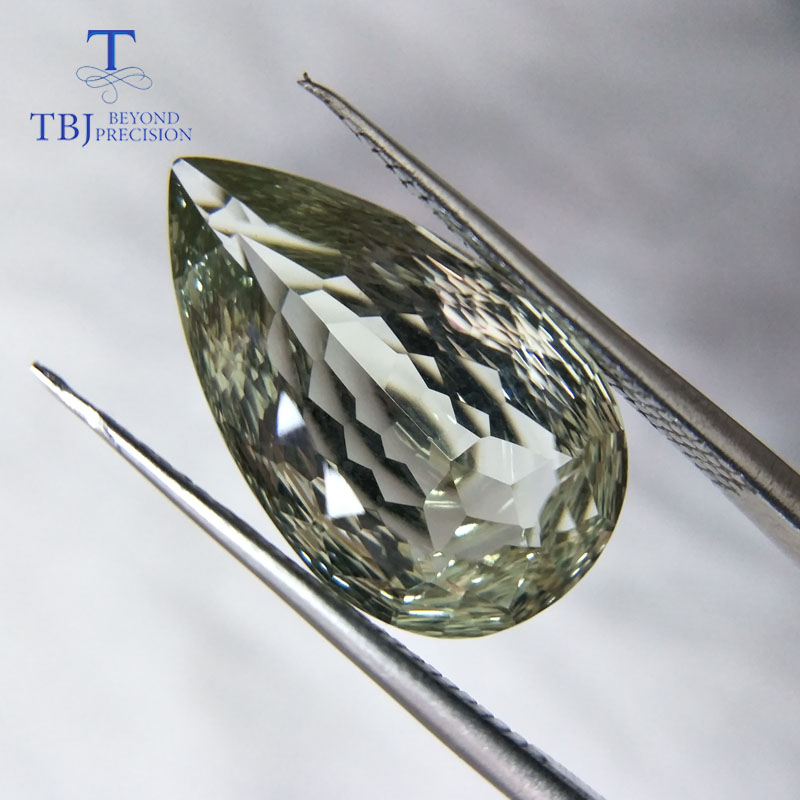 Tbj 100 Natural Green amethyst pear 12 20mm 9 95ct honeycomb cut loose gemstone for Do