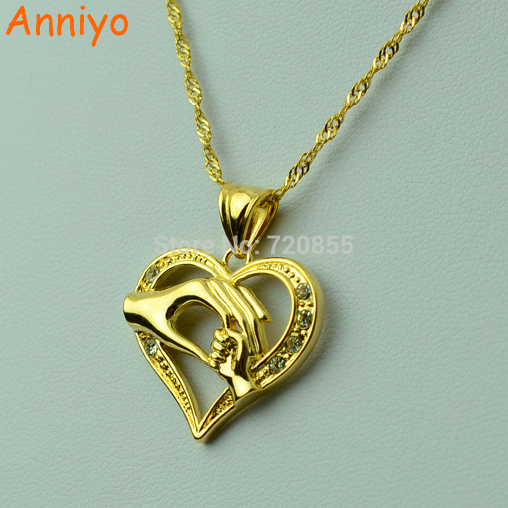 Anniyo Mom Loves Baby Necklaces for Women/Girls Hand in Hand Gold Color Charm Pendant Maternal Love Jewelry Gifts #J670063