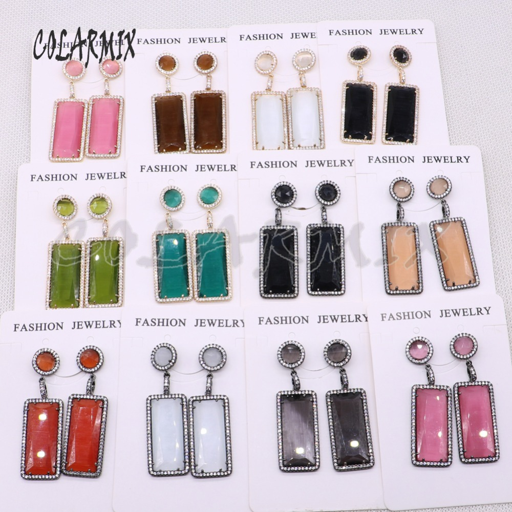 Fashion earrings  Natural stone earrings Rectangle stone earrings mix color wholesale jewelry earrings  gift for lady 4504