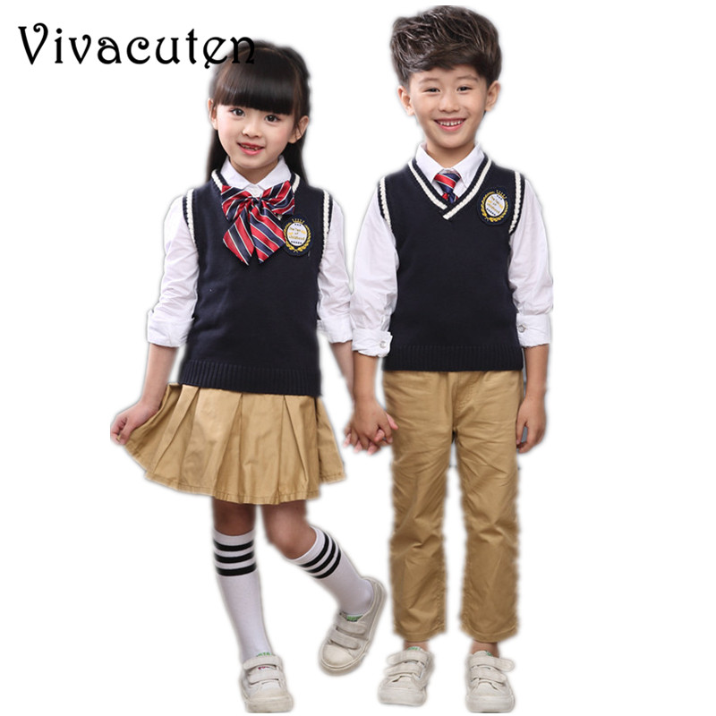 Children Teenage British Style Girls Boys School Uniforms Sets Shirt Vest Pant Tutu Skirt Set Performing Suit With Bow Tie F168