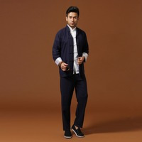 Navy Blue Traditional Chinese Classic Style Kung Fu Sets Men's Cotton Linen Jacket Trousers Suit Size S M L XL XXL XXXL Mnt01B
