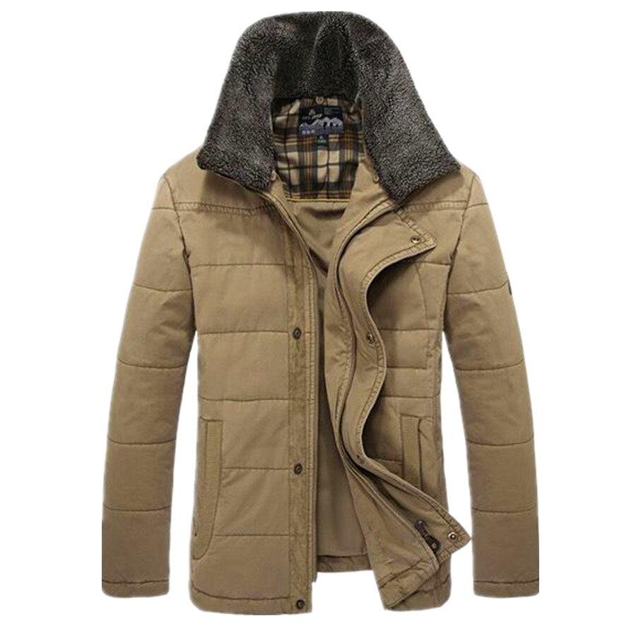 Plus Size L 4XL New Men s Casual Thick Warm 100 Cotton Winter Parkas Coat For