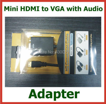 200pcs Mini HDMI to VGA with Audio Adapter Mini HDMI Male to VGA Female Converter Connector with 3.5mm Audio Cable DHL Wholesale