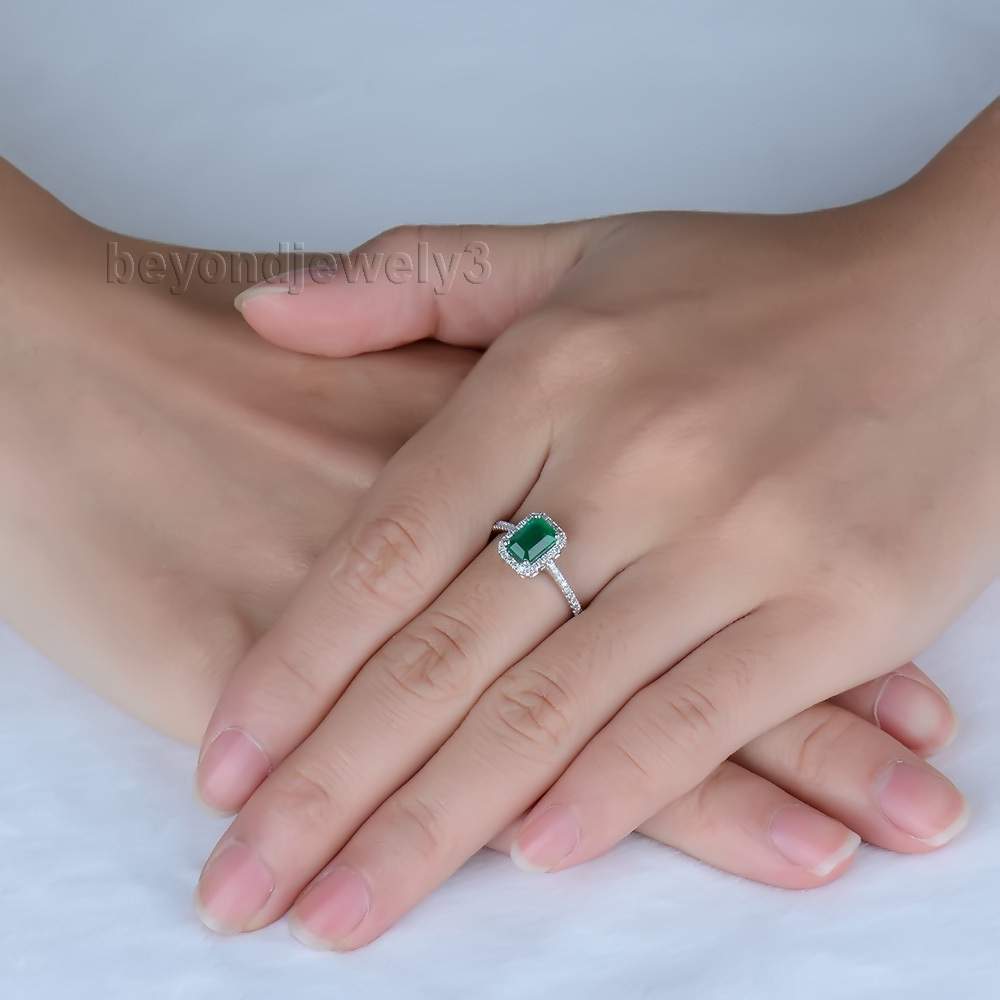 Natural Emerald Gold Ring In Solid 18kt White Gold Columbian Emerald ...