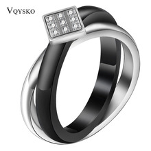 Black Ceramic Cross Silver Stainless Stee circle Ring With CZ Rhinestone Wedding For Women