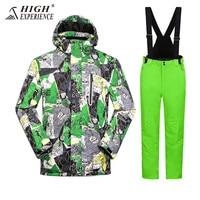 High Experience Winter Men's Suit Ski Suit For Men Camo Snowborading Suit Men Outdoor Men's Sportswear Waterproof Warm Snowsuit