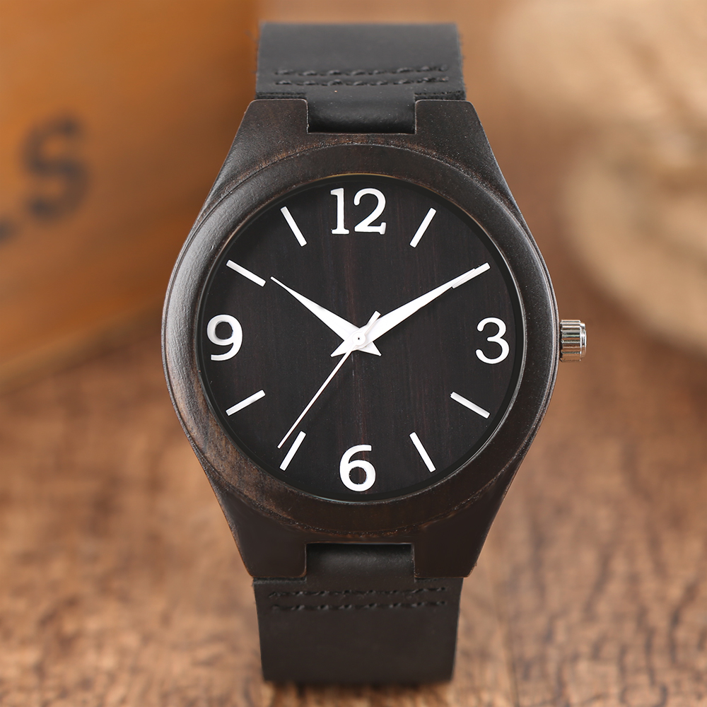 Creative Watches Natural Ebony Bamboo Wooden Quartz Wristwatch Mens White Numbers Dial Black Sports Genuine Leather Clock 2017 hand made mens wooden bamboo quartz watch black genuine leather watchband simple unique modern wristwatch gift for male female