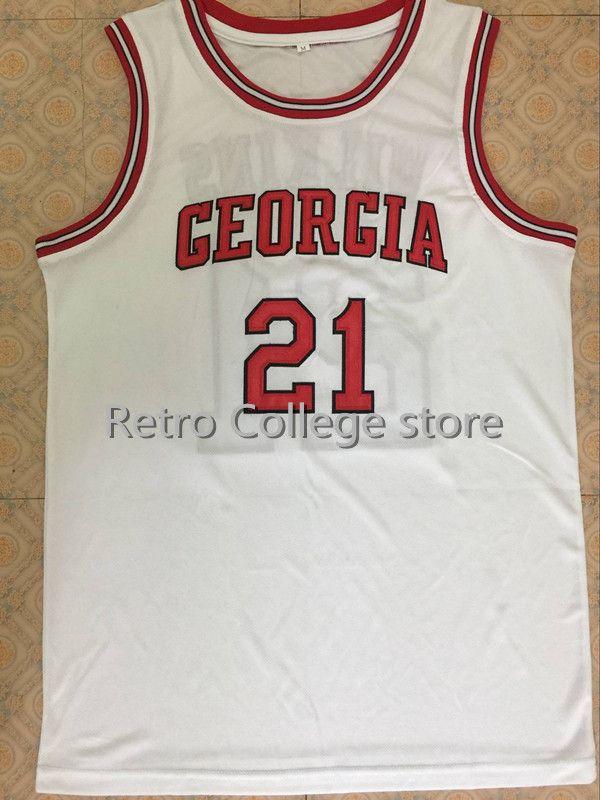 Высокое качество #21 Доминик Уилкинс Грузия бульдоги Баскетбол Джерси Красный прошитой Индивидуальные любое имя и номер Джерси