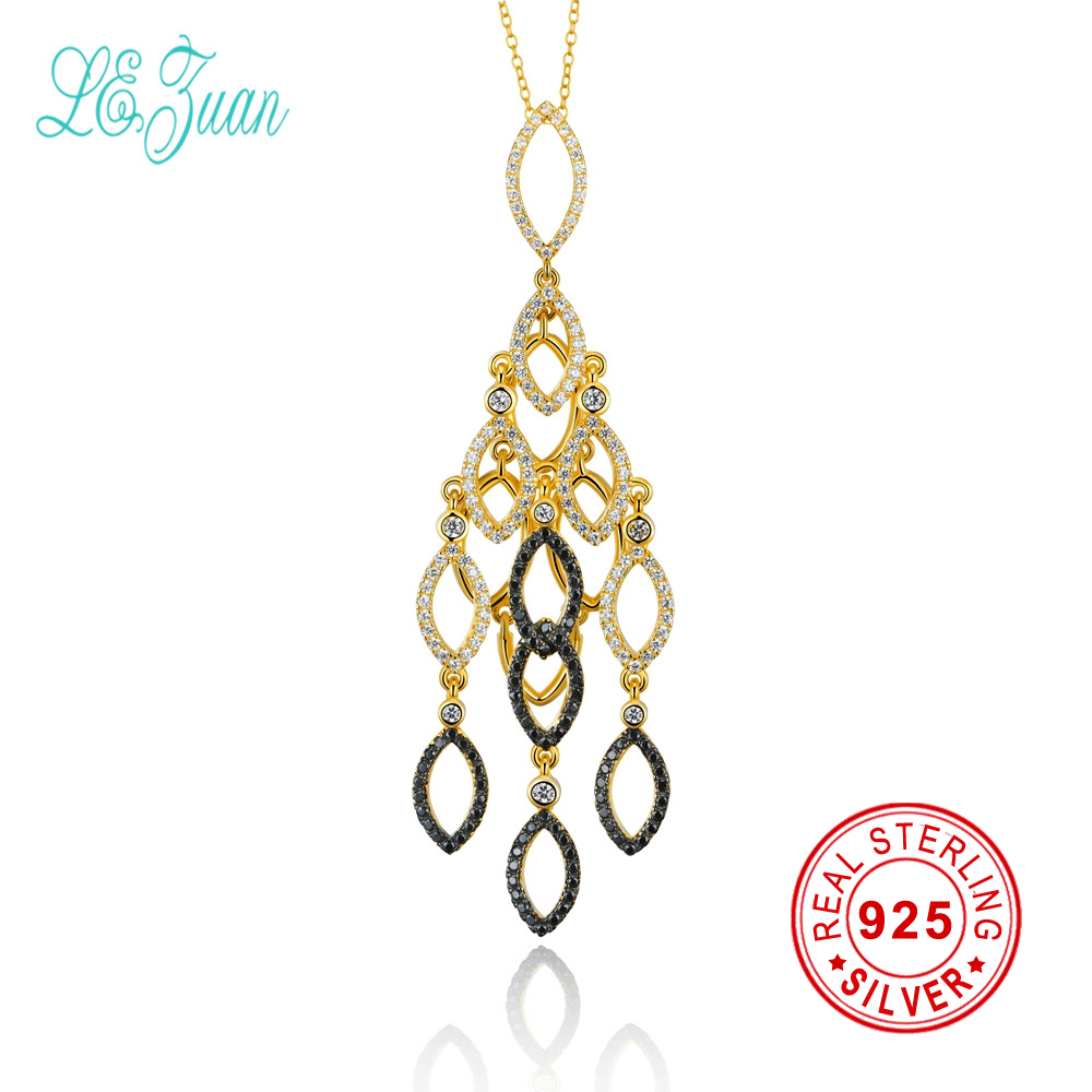 l&zuan New Arrival 925 Sterling Silver Long Pendant Necklace Jewelry Gold Color White Zircon Collar Necklace For Women Gift orange morganite stylish jewelry set for women white zircon gold color rings earrings necklace pendant bracelets