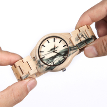 BOBO BIRD Wood Men Watch Top Brand Luxury Quartz Watches a Great Gift for Man in Wooden Box OEM relogio masculino W-O17