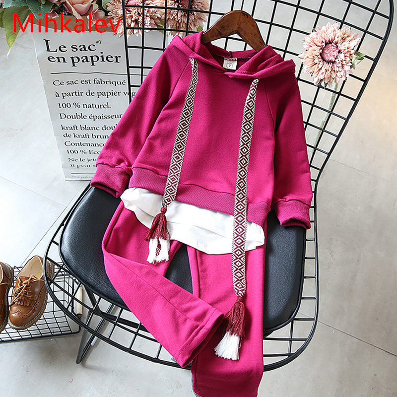 Mihkalev baby girl clothes set 2018 spring girls 2pcs sport suit tshirt and pants children tracksuit for kids clothing sets waterman шариковая ручка waterman s0831460
