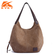 KVKY 2017 Vintage Canvas Bag Women Messenger Shoulder Bags Tote Shopping Handbags Leisure Travel Bolsos Hobos Bag