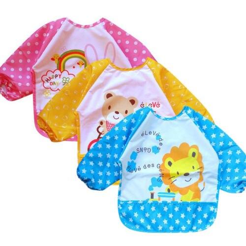 Emmababy Newbron Baby Feed T-Shirts Cartoon 0-3Y Children Baby Waterproof Long Sleeve Self Feeding Apron Drawing T-Shirt