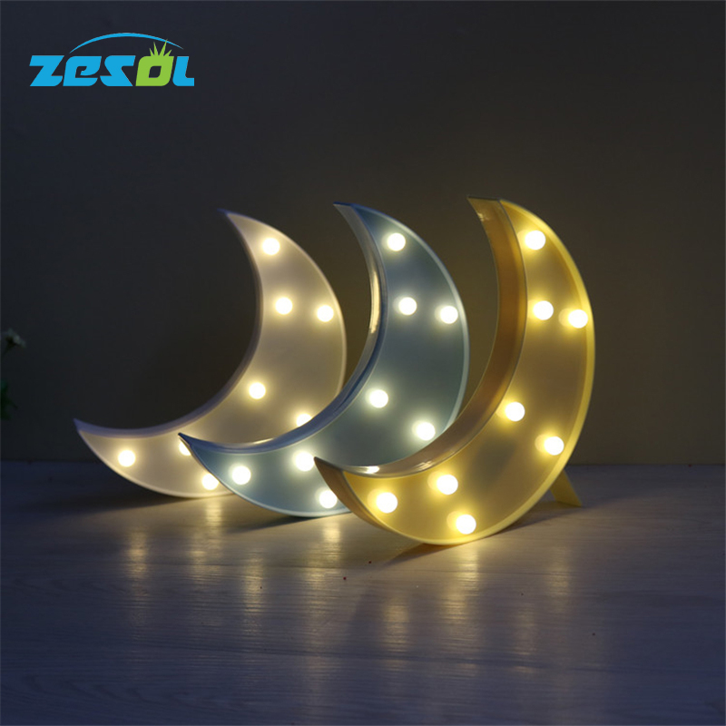 ZESOL Cute 3D Star Moon table LED veilleuse batterie bureau - Éclairage festif - Photo 1