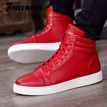 Fashion High Casual Shoes Red. White. Black. Three-Color PU MenS Spring And Autumn Shoes. High-Quality Flat 38-45