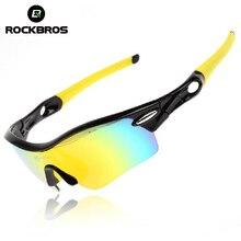 ROCKBROS UV400 Polarized Cycling Bike Sun Glasses Outdoor Sports Bicycle Glasses Bike Sunglasses TR90 Goggles Eyewear 5 Lens