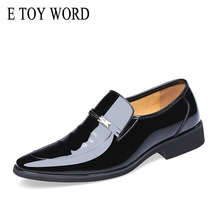 E TOY WORD Autumn Patent Leather Shoes Men Dress Business Work classic zapatos hombre bona Black Brown