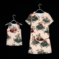 Brand A line straight party nursing dress mother daughter dresses kids mom baby girls sister dress family look matching clothes