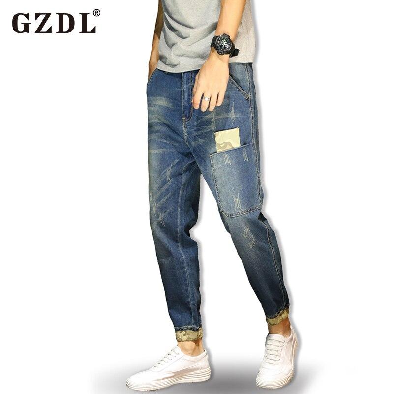 Jeans Férfi kék fekete nadrág Nyári vékony szakasz Slim rugalmas - Férfi ruházat