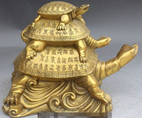 10 Chinese Folk Asian Bronze Longevity Dragon tortoise Turtle Animal Statue R0709 B0403