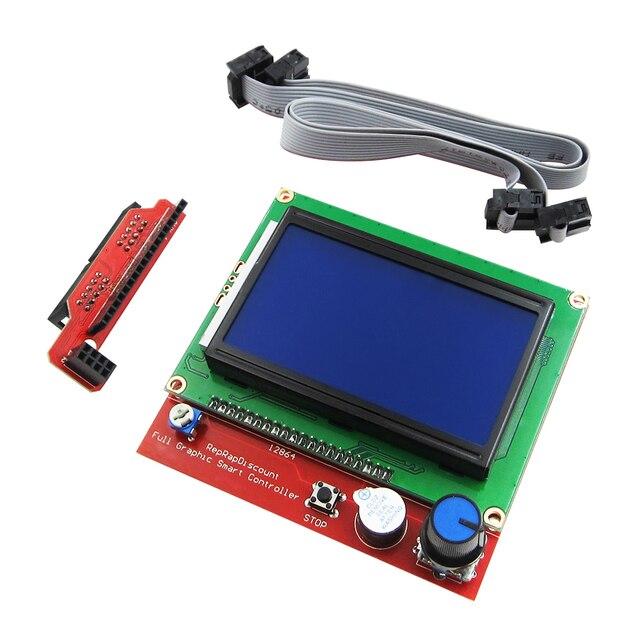 1set di 3D stampante smart controller RAMPE 1.4 LCD 12864 pannello di controllo LCD schermata blu