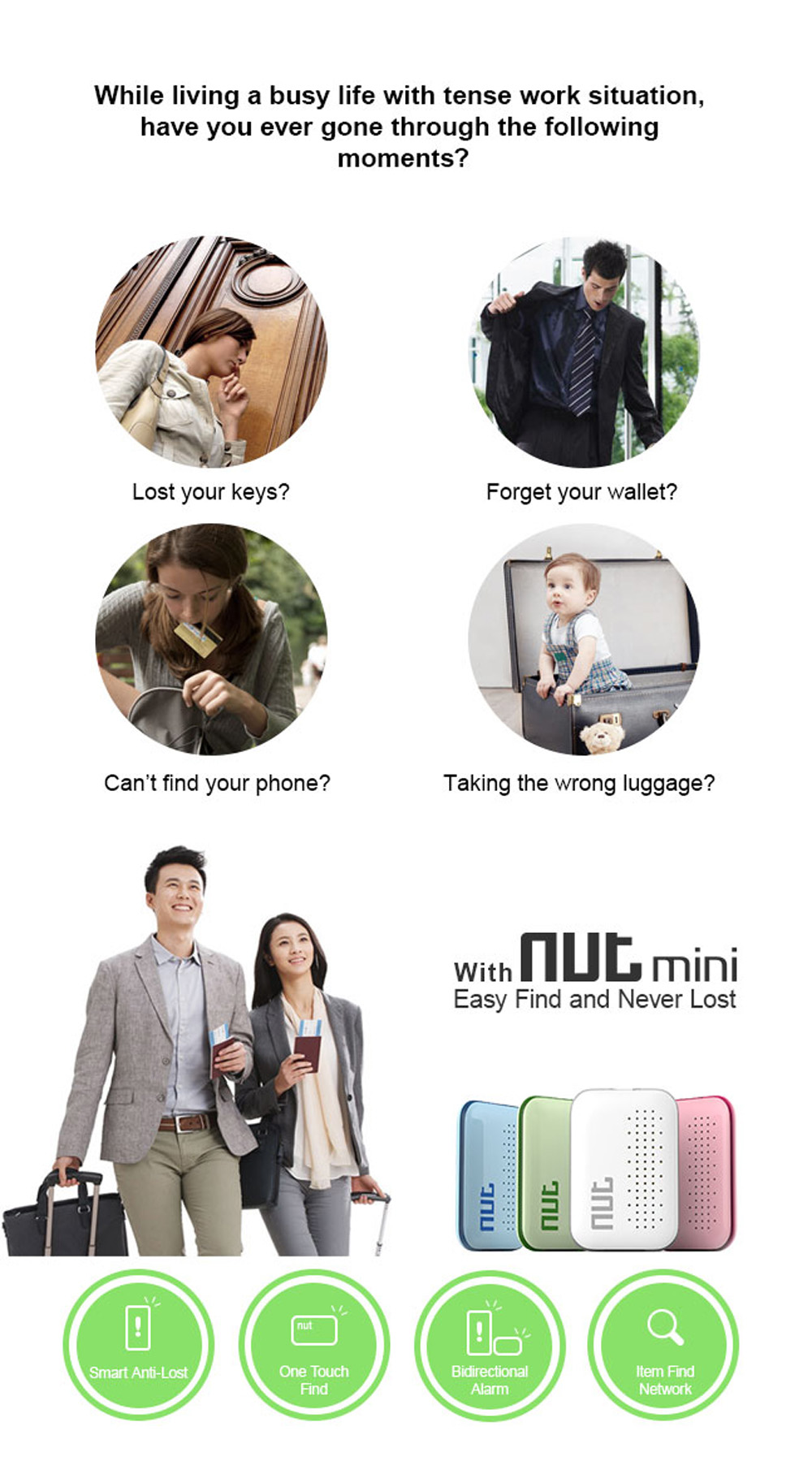 Nut Mini Smart Key Finder Mini Itag Bluetooth Tracker Anti Lost Reminder Alarm Finder Smart Pet Wallet Phone Finder for Phone - wearable-devices, smart-electronics, smart-activity-trackers