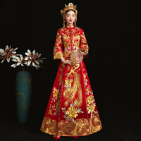 RED Fashion Chinese bride wedding gown dress Golden cheongsam Suzhou embroidery female Spring Autumn Qipao Plus Size S 5XL