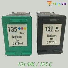 2 Pcs Compatible Ink Cartridges For HP 131 135  HP131 Photosmart 2710 2610 325 PSC 2355 DeskJet 6840 5740 Printer