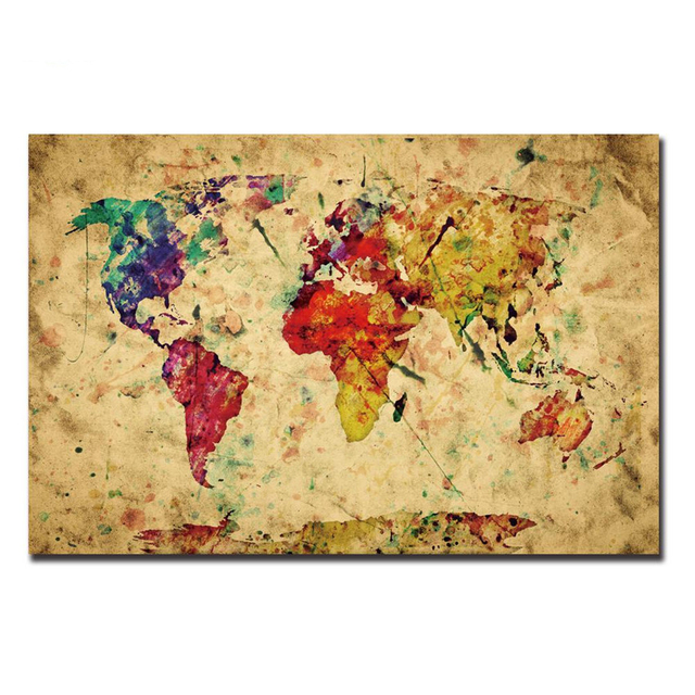 Abstract map painting world map canvas painting modern hanging art abstract map painting world map canvas painting modern hanging art wall poster for living room painted gumiabroncs Images